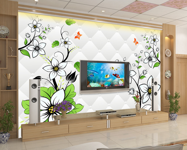 3d立体花卉电视背景墙壁画壁纸