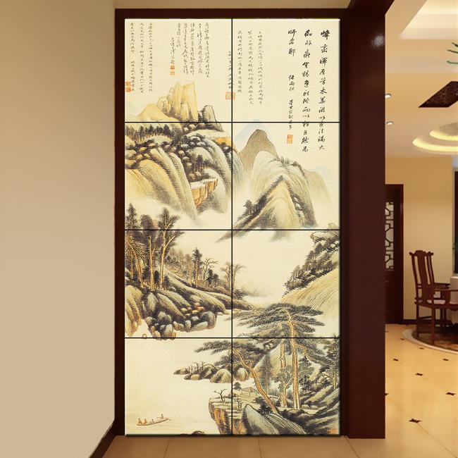中式山水风景玄关背景墙