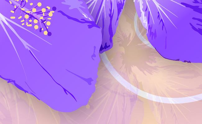 高清手绘psd分层抽象花纹欧式背景墙紫花