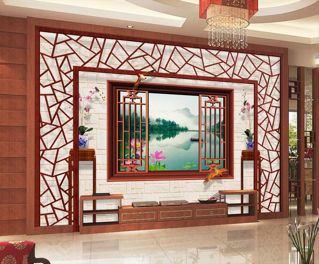 中国风3d风景中式园林电视背景墙图片