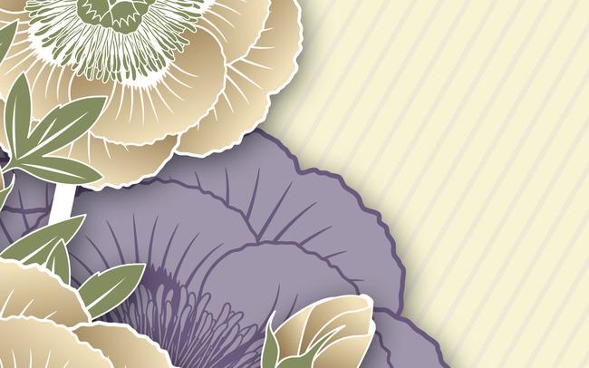 高清手绘psd分层欧式背景抽象花朵