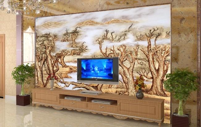 客厅仿彩雕金色森林电视背景墙图片