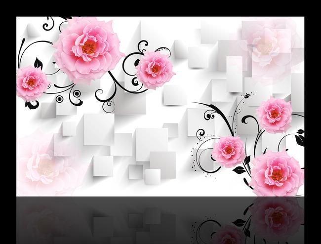 玫瑰花3d方框电视背景墙