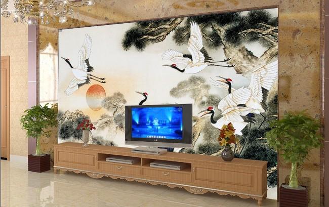 客厅仿彩雕松鹤国画电视背景墙墙图片