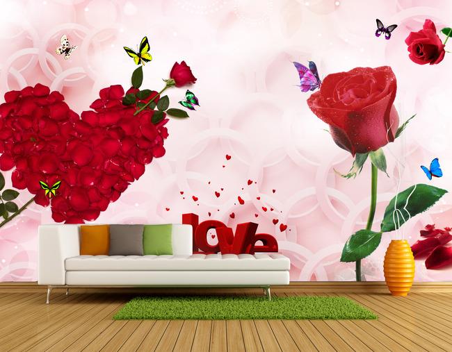 玫瑰花背景墙装饰装饰画图片