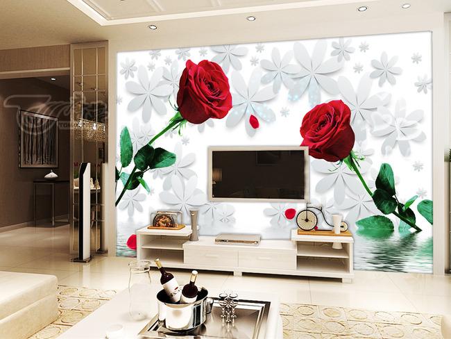 玫瑰倒影3d小花电视背景墙