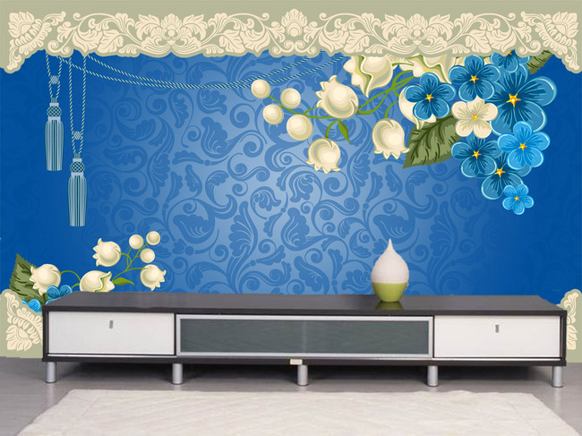 欧式花纹花朵背景墙电视墙图片