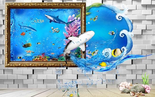 3d壁画海底世界海豚