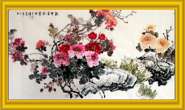 牡丹装饰画牡丹中堂画花开富贵模板下载 11585299 装饰画 装饰画 背图片