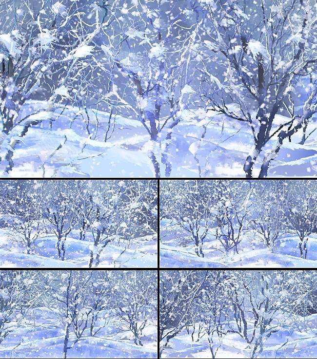 冬季树雪花飞舞动态视频素材模板下载 11590531 LED视频素材 动态视