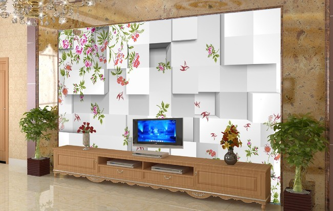 客厅3d花纹电视背景墙图片