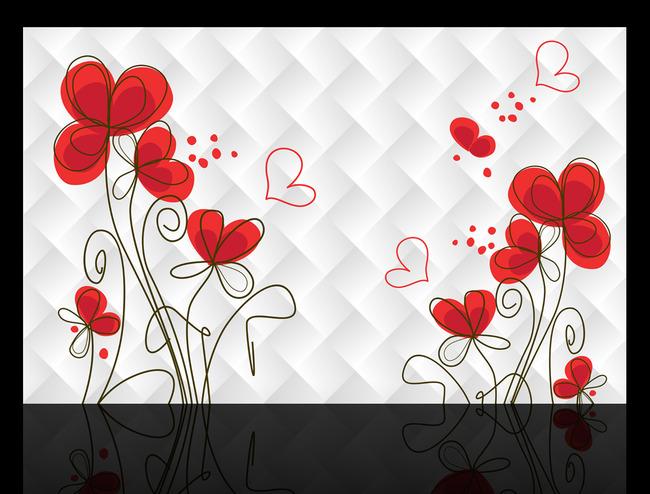 客厅3d手绘花朵电视背景墙装饰画