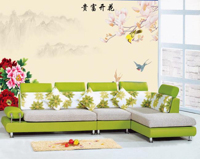 玉兰牡丹花鸟电视背景墙