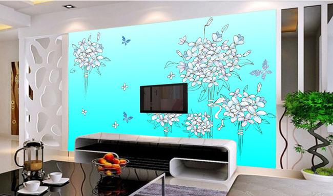 手绘玫瑰花电视背景墙