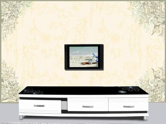 欧式花纹复古简约客厅背景墙电视墙