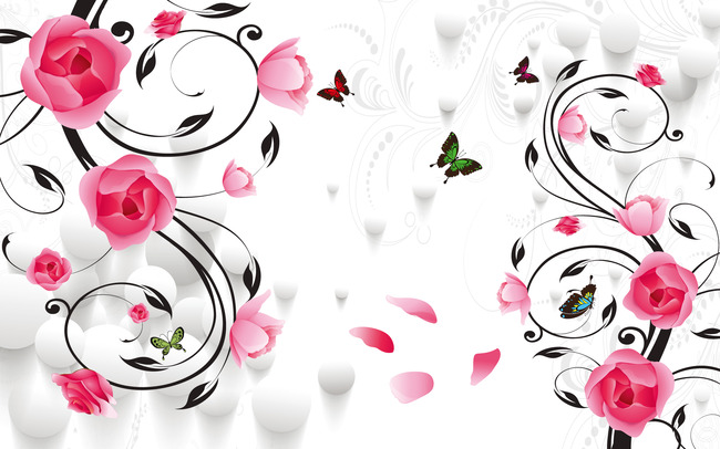 背景墙 装饰画 电视背景墙 电视背景墙 > 玫瑰花卉背景墙移门装饰  下