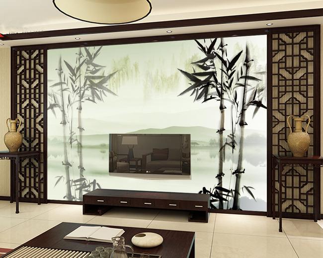 背景墙|装饰画 电视背景墙 手绘电视背景墙 > 中国风竹子山水画背景墙