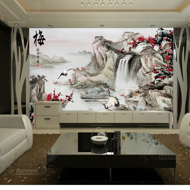 背景墙|装饰画 电视背景墙 手绘电视背景墙 > 山水梅花电视背景墙装饰
