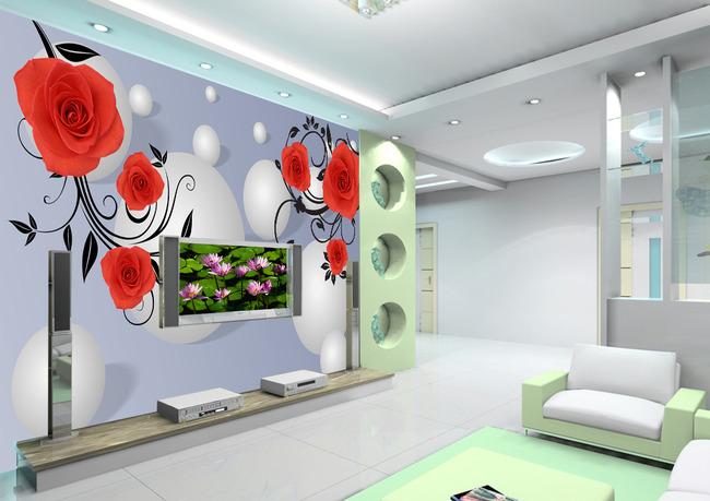 3d立体玫瑰电视背景墙壁画壁纸