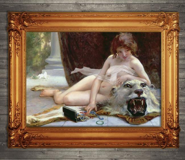 世界名画古典主义写实风格油画少女女子金发女子女孩女人体
