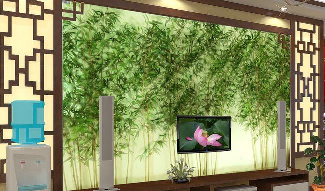 客厅竹林电视背景墙图片