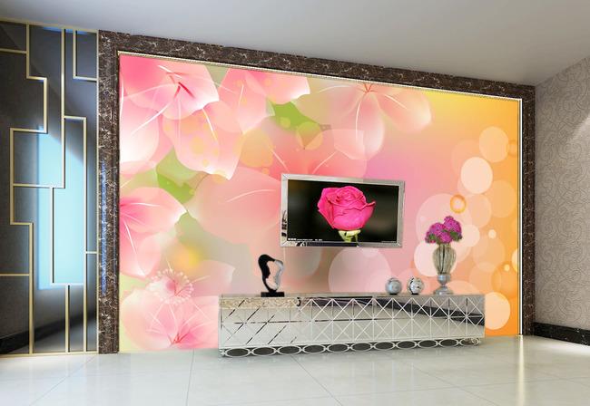 粉色梦幻花朵 梦幻花朵 梦幻背景 粉色花朵 手绘鲜花 圆圈 墙纸 壁纸
