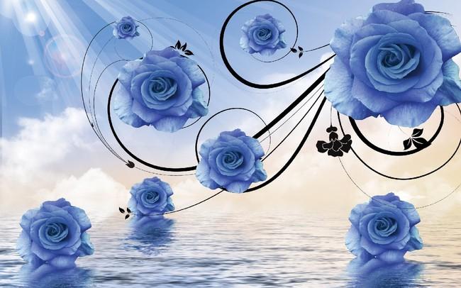 客厅蓝玫瑰花纹电视背景墙图片