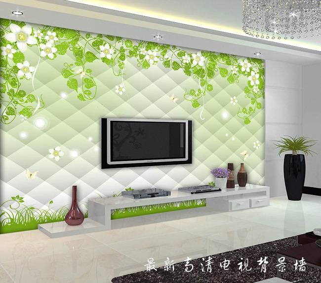 绿色藤条立体壁画电视背景墙