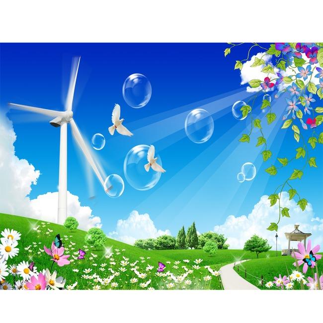 蓝天白云天空草原自然景色模板模板下载(图片