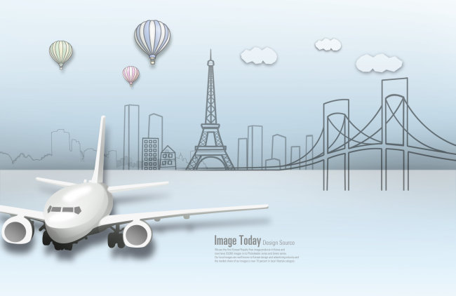 桥梁热气球和飞机图片下载 飞机 桥梁 热气球 白云 高塔 抽象城市 psd