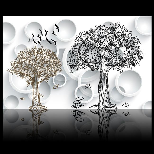 3d立体圆圈手绘树背景墙