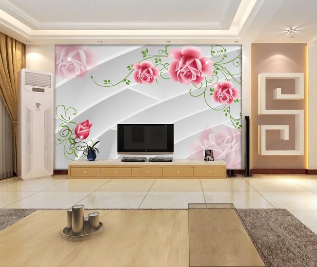 3d电视背景墙壁纸壁画花模板下载
