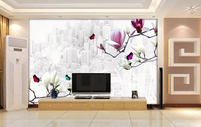 3d电视背景墙壁纸壁画玉兰花