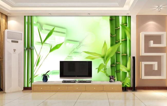 3d电视背景墙壁纸壁画梦幻竹