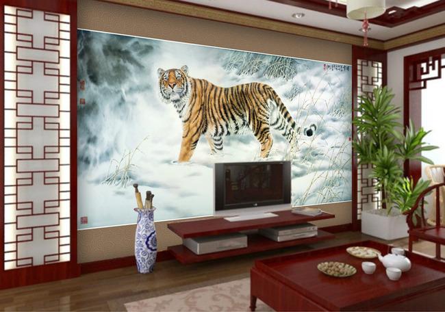 高清老虎电视背景墙