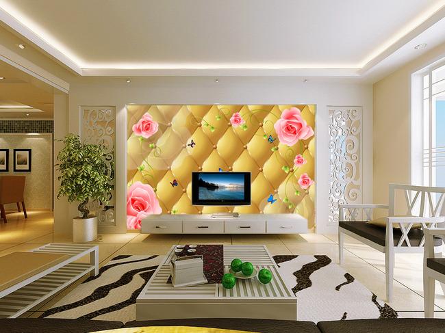 3d立体玫瑰线条电视背景墙壁画墙画