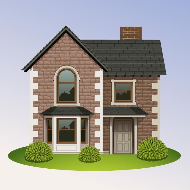 卡通房屋矢量素材图片下载 房子 西方风格 别墅 植物 草地 卡通