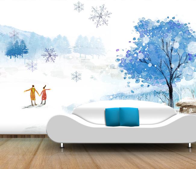 手绘冬季风景背景墙图片设计