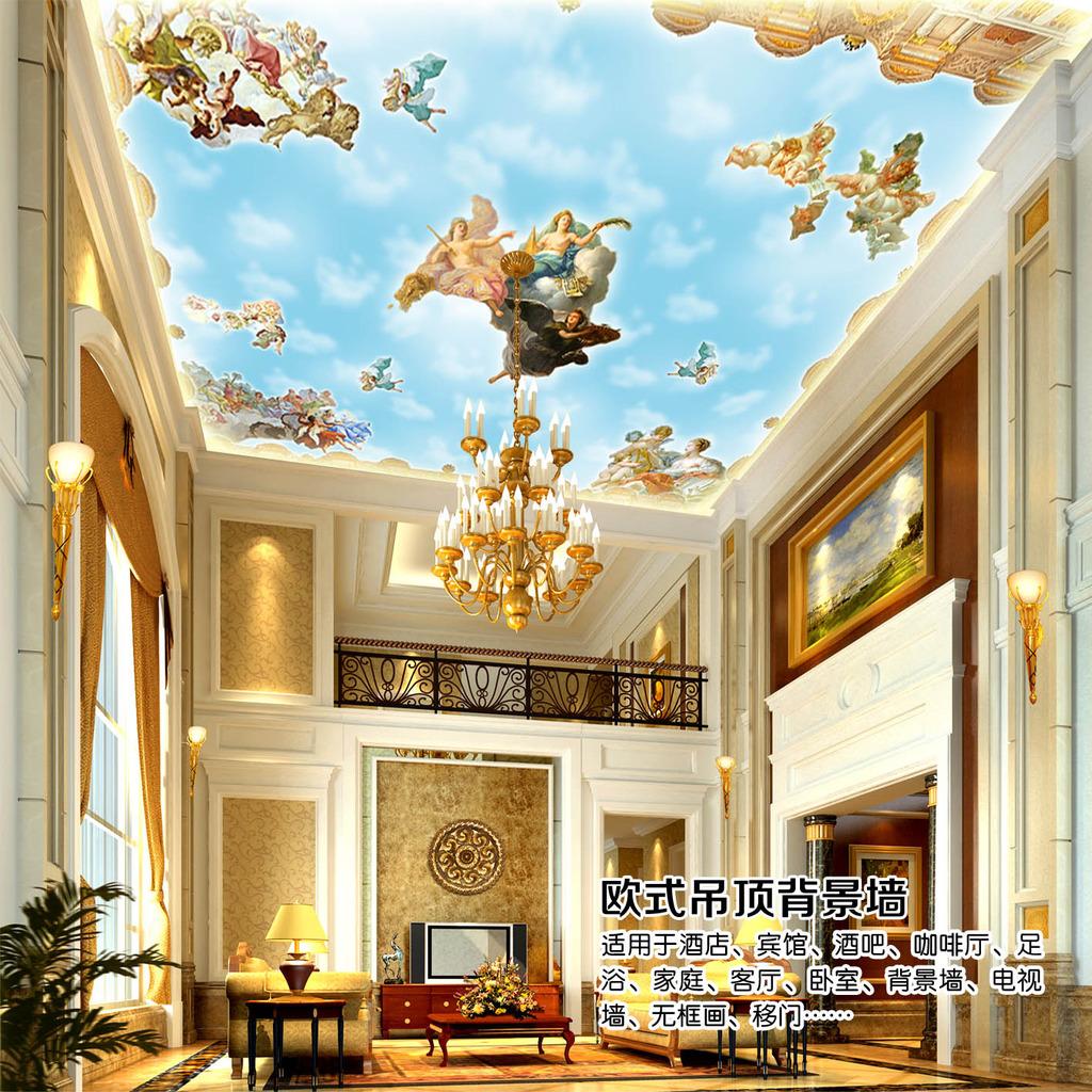 欧式风格中世纪吊顶背景墙装饰画图片