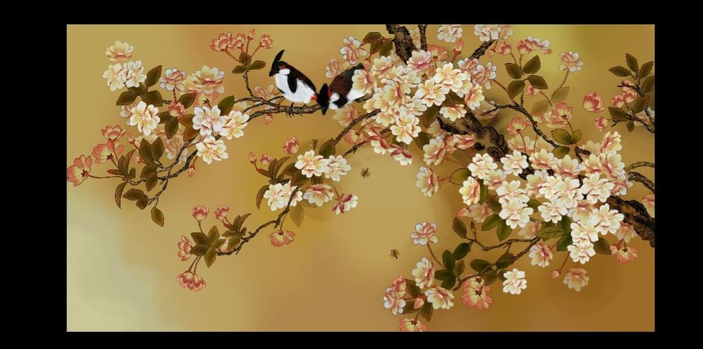 壁纸壁画电视背景墙花鸟图模板下载(图片编号:)图片