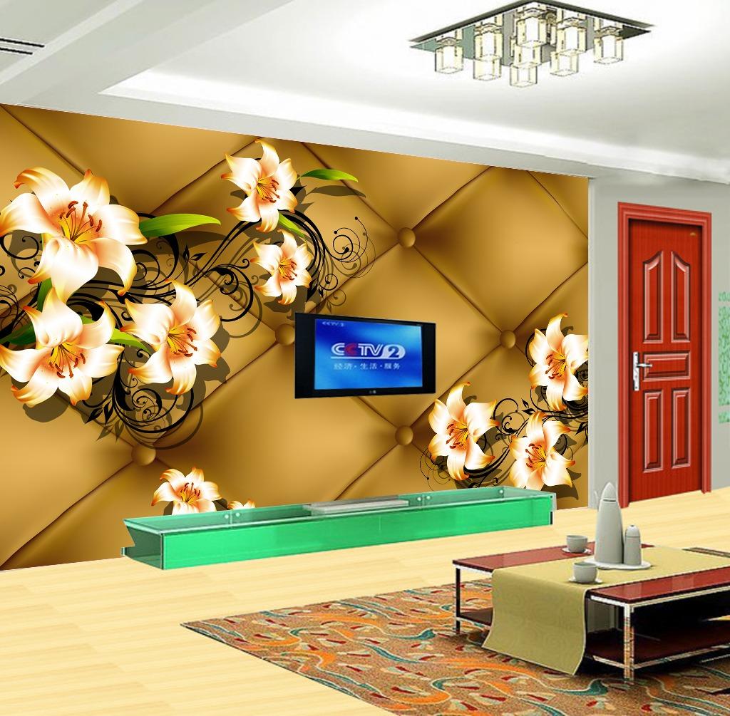 背景墙 电视 软包/百合花3D立体软包形电视背景墙装饰画