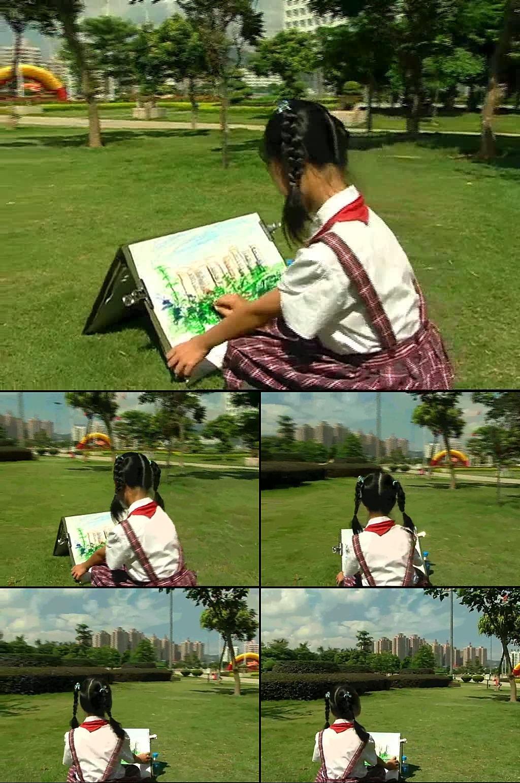 高清草坪小学生画画led背景视频
