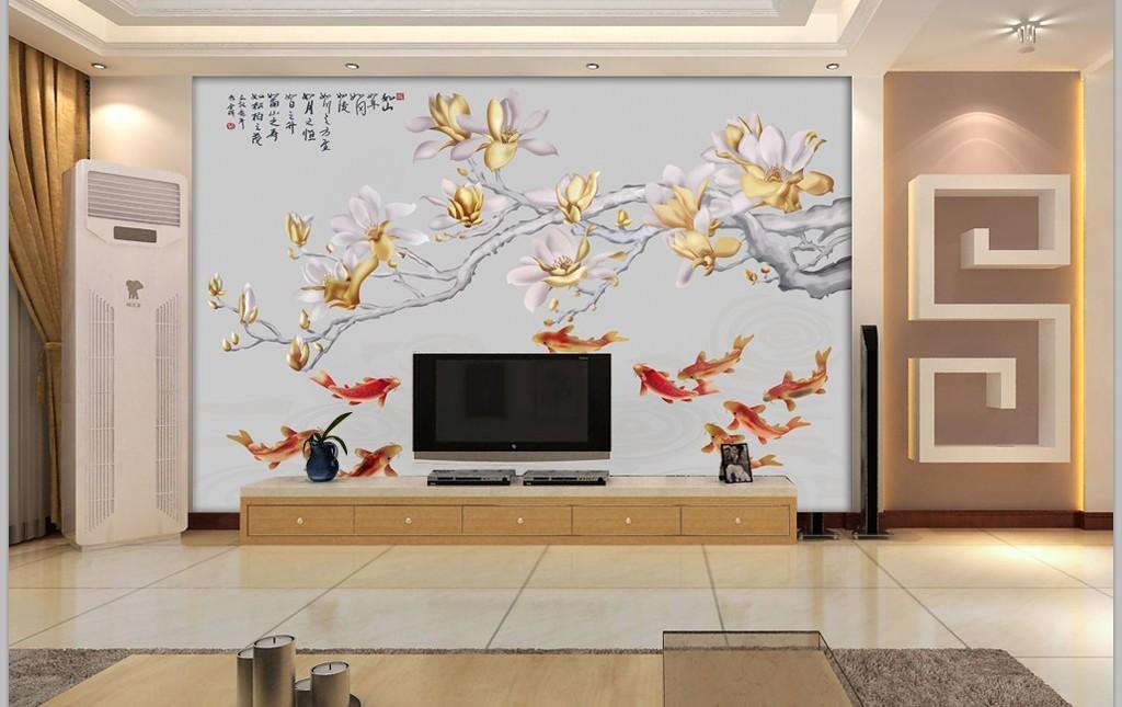 电视背景墙浮雕鱼