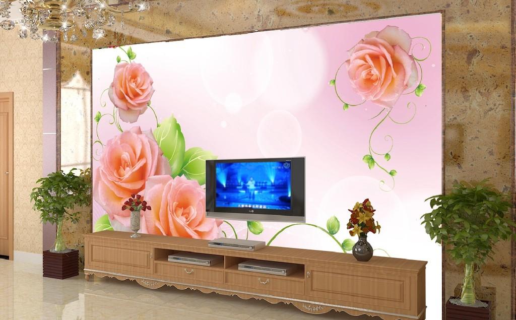 客厅玫瑰花藤电视背景墙图片