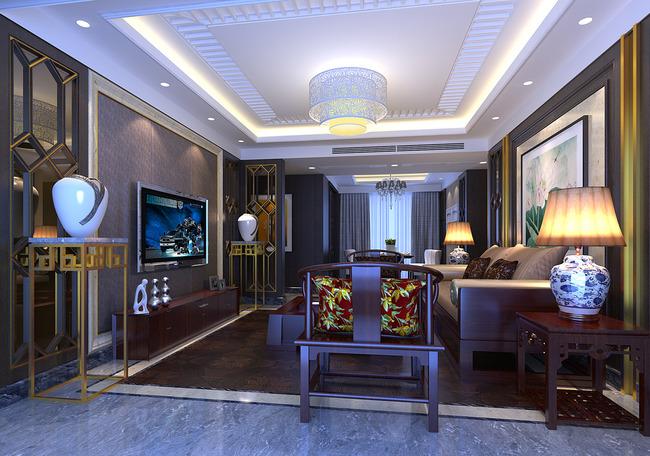 3d模型 室内设计3d模型 家装模型 > 中式风格样板房客厅效果图max模型图片