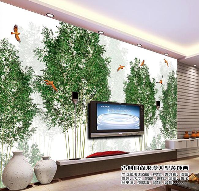 背景墙|装饰画 电视背景墙 手绘电视背景墙 > 抽象竹林树林小鸟黄鹂