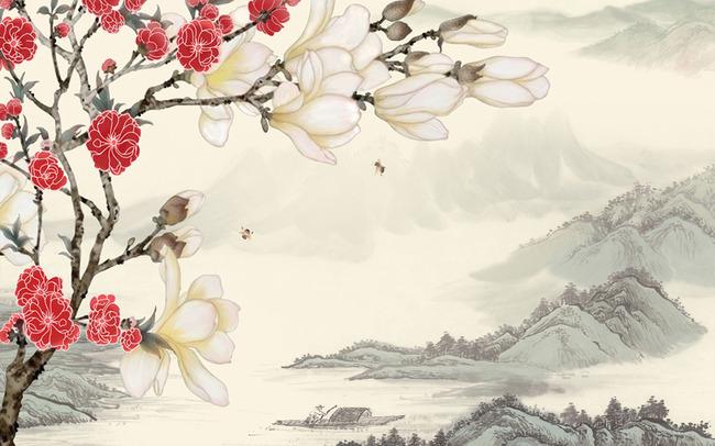 中式背景墙雅舍兰香山水画模板下载(图片编号:)_背景图片