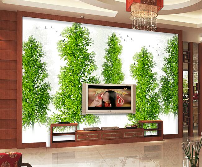 背景墙|装饰画 电视背景墙 手绘电视背景墙 > 抽象绿色春天树林小鸟