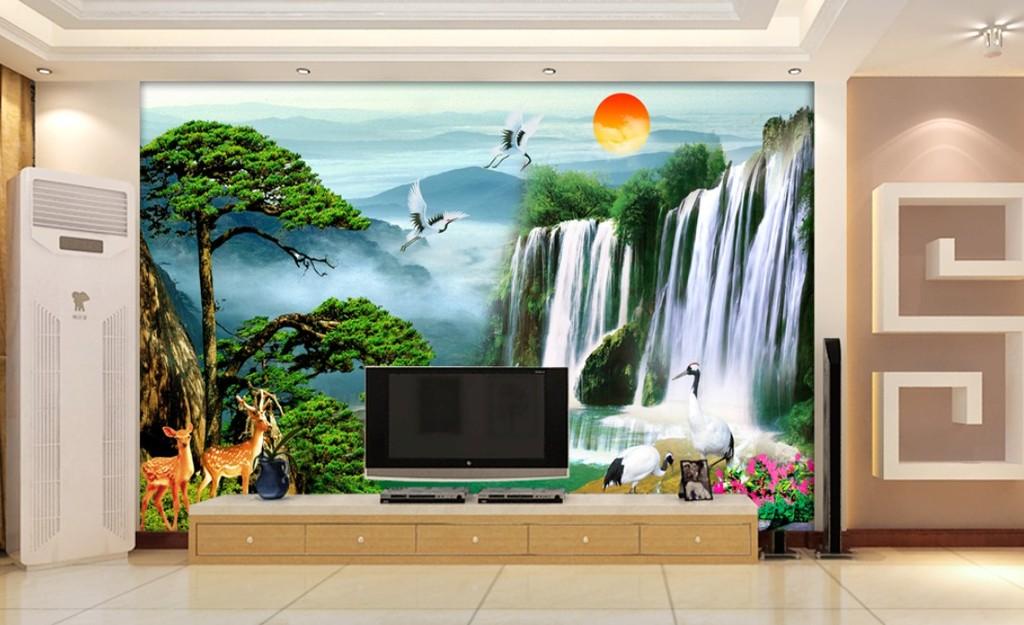 电视背景墙壁画山水画