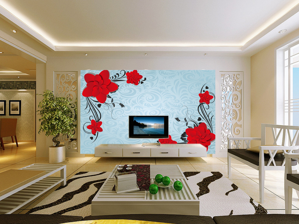 欧式线条小红花电视背景墙壁画